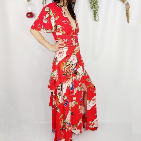 afrm Dresses   Skirts - NWOT AFRM floral tiered deep V maxi dress red b75ffbb97